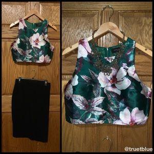 🆕 Akira Floral Jacquard Crop Top Sz L